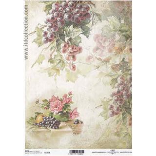 Carta Di Riso Su Legno.Carta Di Riso Per Decoupage A4 Grapes